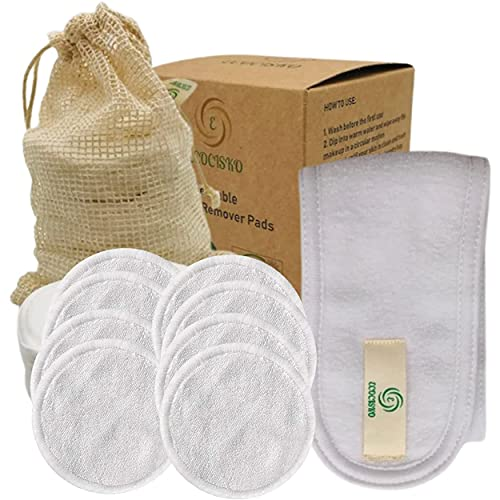 Algodón desmaquillante lavable de bambú orgánico, toallitas reutilizables, disco desmaquillante lavable antibacteriano, 8 suaves almohadillas de algodón desmaquillante + red de lino + cinta para la ca