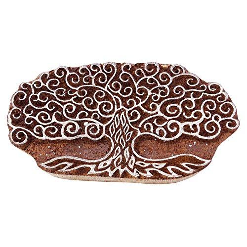 Knitwit Baum Indische Holz Briefmarken Block Kunst Handcarved Druckblock Textil-Stempel