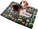 ALLISANDRO Hundematte Hundedecke Waschbar Strapazierfähige 80 * 60cm Hygienisch und rutschfest Eckig Bones Weiche Hundebette mit kuscheligem Plüsch für Hunde & Katzen Mehrfarbig