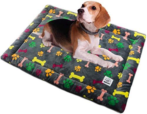 ALLISANDRO Hundematte Hundedecke Waschbar Strapazierfähige 120 * 80cm Hygienisch und rutschfest Eckig Bones Weiche Hundebette mit kuscheligem Plüsch für Hunde & Katzen Mehrfarbig