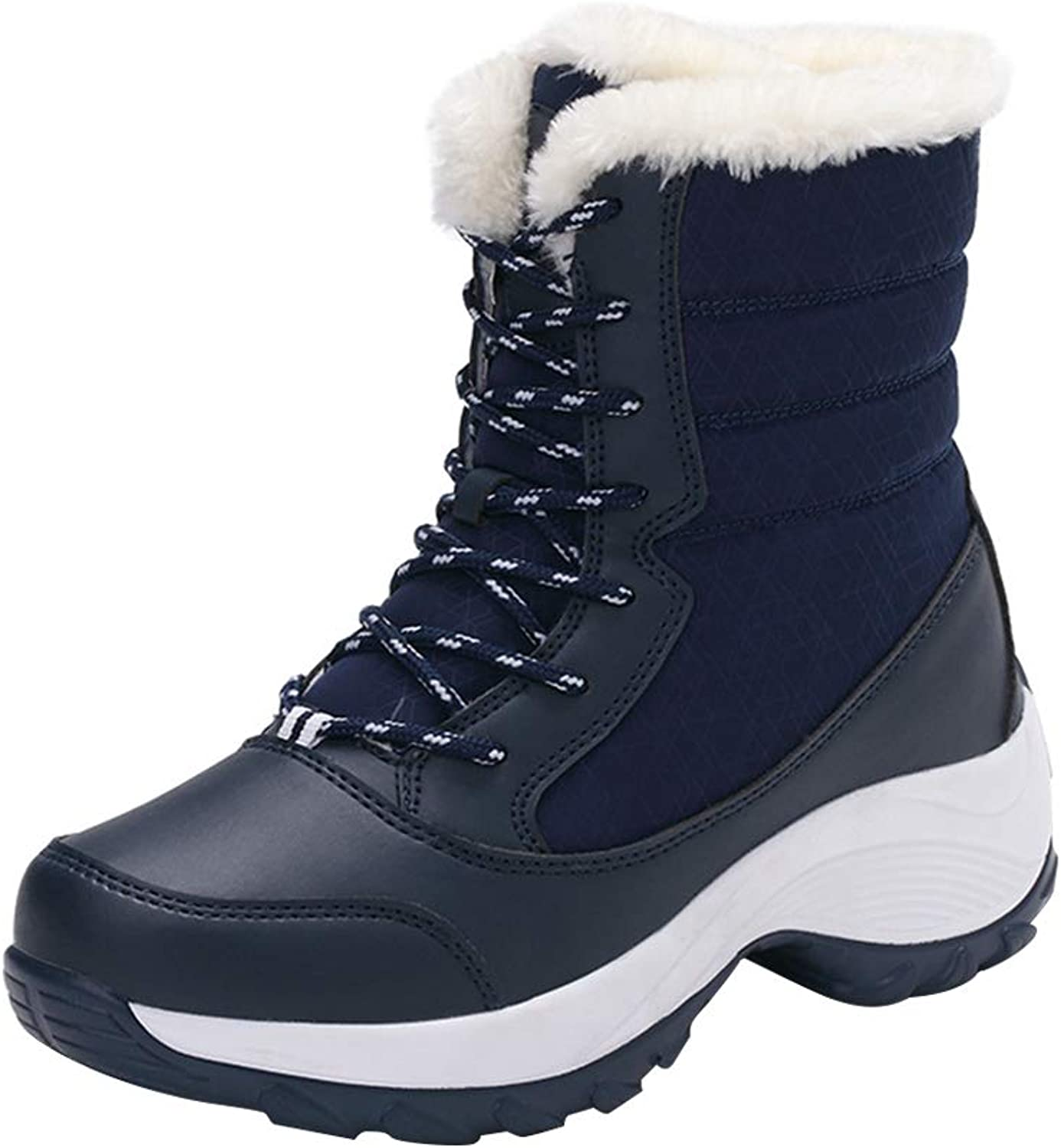 Uirend Snow Boots Women Platform Ankle - Ladies Waterproof Fur Lined Lace Up Boots Warm Plush Winter Breathable Slip Mid-Calf shoes