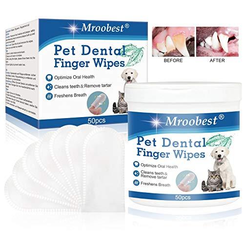 Toallitas Limpiadoras para Diente de Mascotas, Toallitas para Mascotas, Pet Tooth Wipes para limpia la placa y el sarro de los dientes, optimiza la salud bucal, refresca el aliento - 50 Piezas