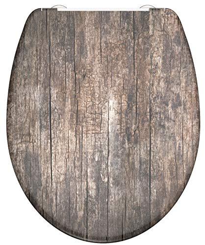 WC-Sitz - Toilettendeckel | Klodeckel mit Absenkautomatik & Schnellverschluss | Duroplast | Toilettensitz mit Muster (Altholz)