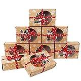 Qsnn - Caja de galletas con ventana para Navidad, 12 unidades