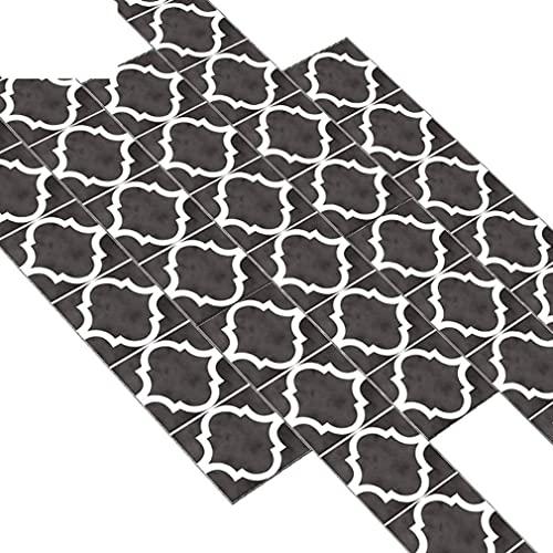 Pegatinas para suelo de cocina, gris, blanco y negro, I Transferencias de azulejos autoadhesivos para azulejos de pared de baño - Calcomanías de película decorativa extraíbles para decoración de p