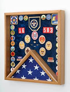 All American Gifts Boy Scout Flag and Awards Display Case (Laser Engraved Boy Scout Emblem)