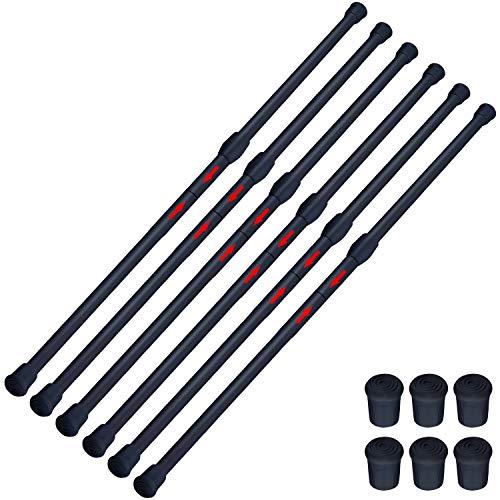 SIQUK 6 Piezas Barra para Armario Extensible Barra Ajustable Varilla Cortina Extensible para Armario Cortina Bricolaje 40-70cm y 75-106cm, Negro