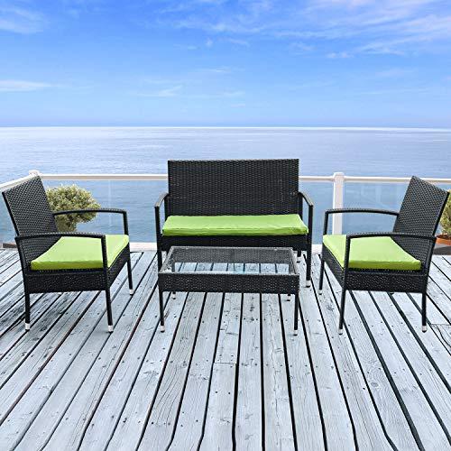 Merax Juego de 4 al aire libre ratán mimbre sofá y sillas ratán jardín juego de muebles de jardín