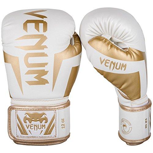 Venum Elite Boxing Gloves - White/Gold - 12oz