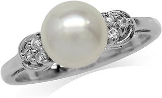 8MM 养殖淡水珍珠白镀金 925 纯银戒指