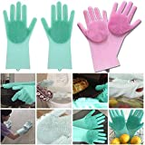 SHOPPOWORLD Silicone Non-Slip, Dishwashing and Pet Grooming, Magic Latex Scrubbing Gloves for Household