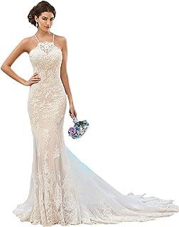 752df9291aec Fenghuavip Elegant Halter Ivory Lace Long Train Bridal Beach Wedding Dress
