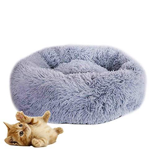 HIMA PETTR Pluche Dierennest, met Duurzaam Wasbaar Slaap Knuffelig Huisdier Kat Comfortabel Bed voor, Licht Grijs