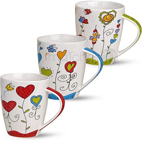 matches21 Tassen Becher Kaffeetassen Kaffeebecher Motiv buntes Herzdekor Blumen blau rot grün Porzellan 3-tlg. Set je 10cm / 300ml