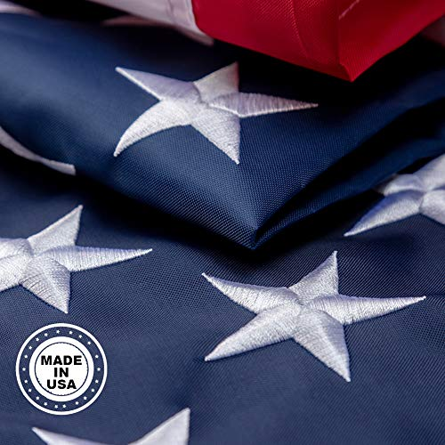 This 3x5 ft American Flag Outdoor The Strongest, Longest Lasting, 3x5 ft. 100% Made in USA Embroidered Stars Sewn Stripes Brass Grommets Foot Heavy Duty Nylon.