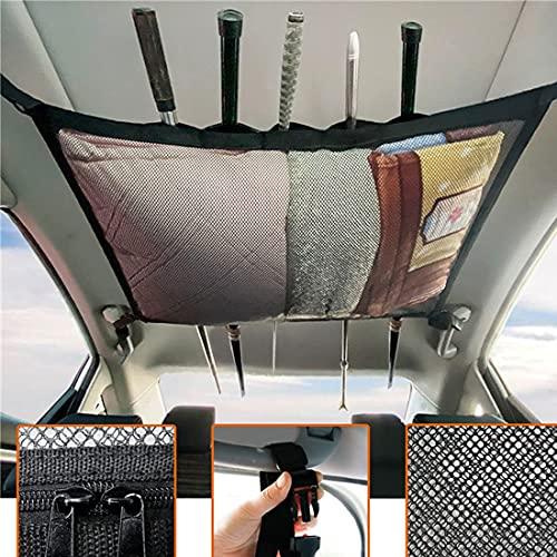 iMunir Vehicle SUV Fishing Rod Holder Ceiling Storage Net, 32'-59' adjustable Interior Car Roof Rack...