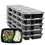 HENSHOW 2 Compartiment Boite Repas Lot de 20Pcs, 1000L Prime Réutilisable sans BPA Boite à Lunch Micro Onde, Congélateur et Lave-Vaisselle Sûr