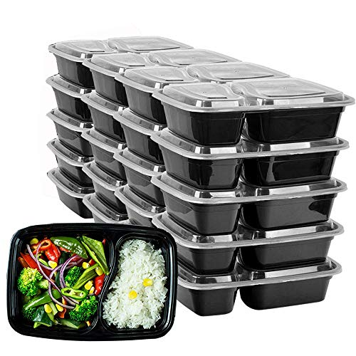HENSHOW Contenitori Alimentari 2 Scomparti Set di 20 Pezzi, 1000 ml di Contenitori Alimentari con Coperchi per Il Cibo Riutilizzabili BPA, Microonde, Congelatore e Lavastoviglie