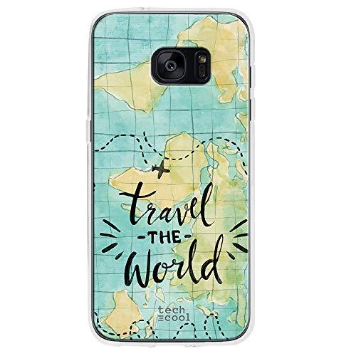 Funnytech® Funda Silicona para Samsung Galaxy S7 Edge [Gel Silicona Flexible, Diseño Exclusivo] Mapamundi Acuarela Travel The World