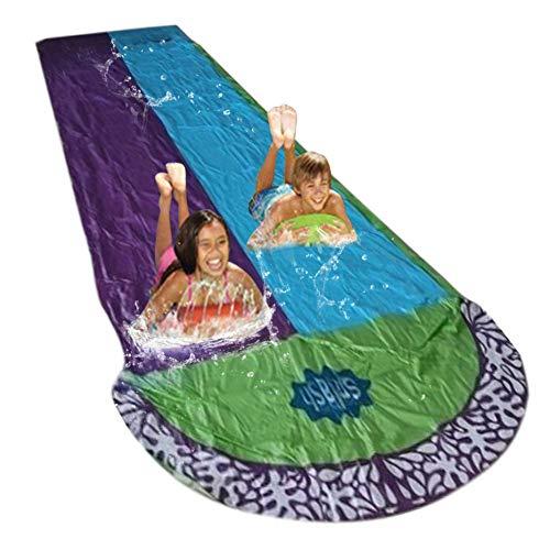 QUUY Rasen Wasserrutsche Rutschmatte 480 X 140 cm Hochleistungs PVC Doppel Wasserrutschmatte Surfbretter Splash Garden Backyard Waterslide Sommer Wassersport Spray Gras Im Freien Spielzeug