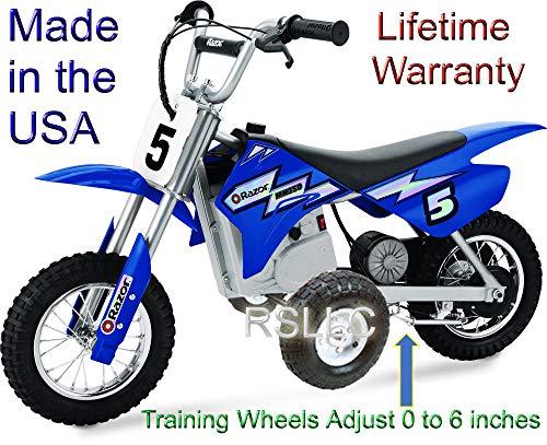 RSLLC Adjustable Motorcycle Training Wheels for Razor MX350, MX400, MX350 Dirt Rocket, MX400 Dirt Rocket, MX 350 and MX 400