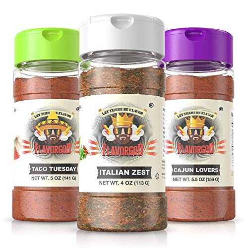 Flavor God Seasonings- Vegan Lovers Combo Pack | 3 Pack- 5oz | Healthy Vegan Seasonings | Great for Added Flavor | No Calories, No Dairy, No MSG, No Fat, No Gluten, Low Sodium | Made in the USA