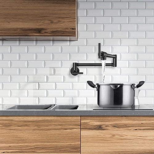 TTLIFE Grifo de cocina Grifo de cocina de pared de latón negro cromado-níquel Conector doble NPT Grifo de cocina extensible giratorio plegable