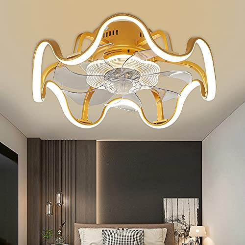 LANMOU Moderna Ventilador Eecho con Luz y Mando a Distancia, Lámpara Ventilador de Techo 3 Velocidades Silenciosa Lámpara de Techo LED Regulable para Dormitorio, 48cm