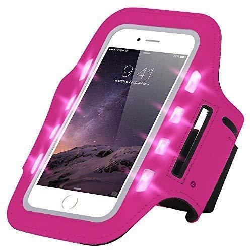 Handytasche Sport Armband mit LED-Licht & Schlüsselfach Sweatproof für 6,0 Zoll Ideal fürs Joggen Schutzhülle Smartphone Halter Samsung Galaxy A3 2016 Pink