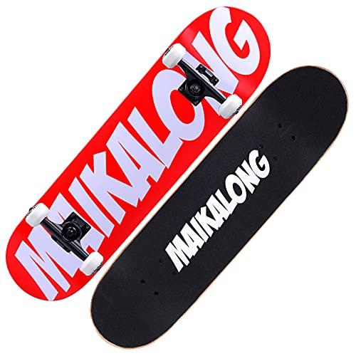 VOMI Tabla Skate de 31 Pulgadas, Monopatín con Rodamientos ABEC 11 y Ruedas 100A, Skateboards Antideslizante para Adultos, Niños, Niñas, Principiantes, Patineta Completo 7 Capas de Arce,Rojo