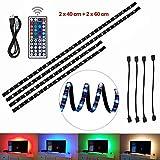 Ruban LED Rétroéclairage TV, éclairage USB Bias 2x40cm+2x60cm Avec 5V USB Câble et 44 Touches Télécommande pour téléviseur HD 40 à 60 pouces, moniteur PC, bande lumineuse led.