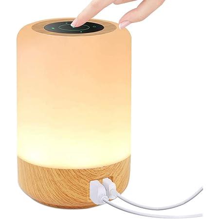 Lampe de Chevet Tactile, otumixx Veilleuse LED avec 4 Ports de Chargement USB 7 Couleurs RVB Commutables et Luminosité à 3 Niveaux Lampe de Table pour Chambre à Coucher, Chambre D'enfant, Salon