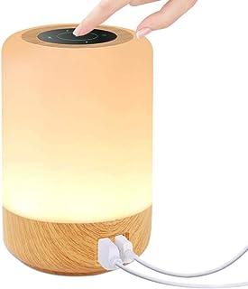 Lampe de Chevet Tactile, otumixx Veilleuse LED avec 4 Ports de Chargement USB 7 Couleurs RVB Commutables et Luminosité à 3...