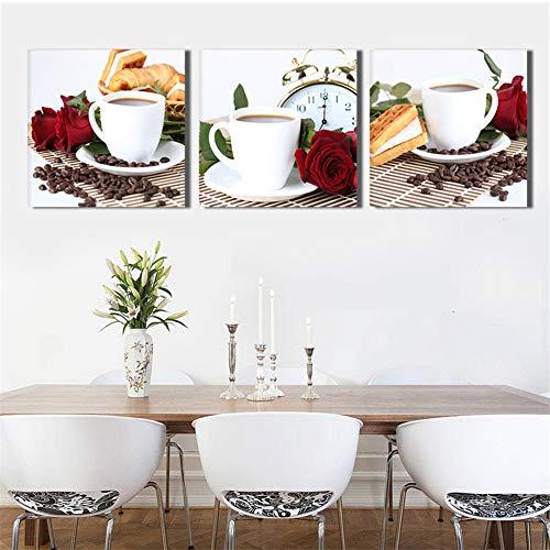 WSNDGWS Koffie triple spray koffie boon decoratieve schilderij thuis studie achtergrond muurschildering zonder fotolijst 60x60cmx3 I5