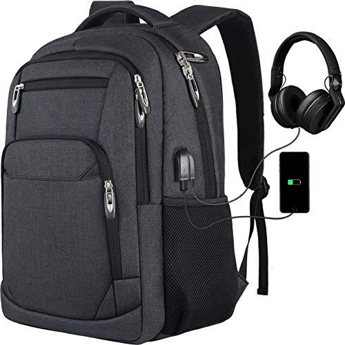 Rucksack Herren Schulrucksack, für 15.6 Zoll Laptop Rucksack Arbeit Wasserdicht Business Daypacks Jungen Teenager mit USB Ladeanschluss, Oxford,35L Schwarz
