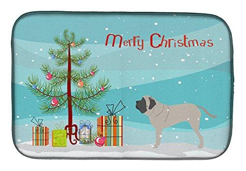 Caroline 's Treasures BB2974DDM English Mastiff Merry - Esterilla de secado para árbol de Navidad, 14 x 21, multicolor