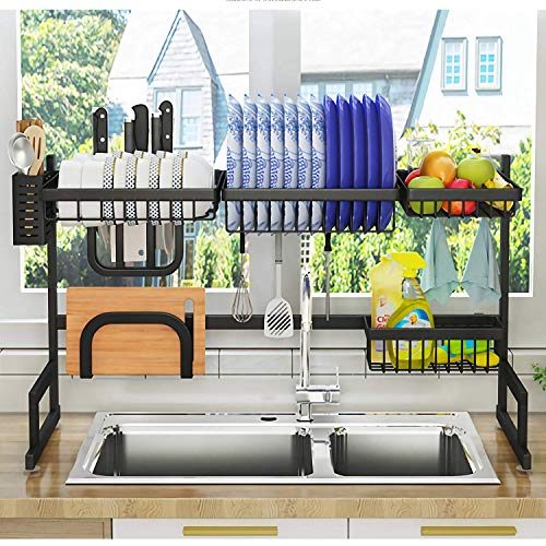 "ADBIU Over The Sink Dish Drying Rack (Sink Size ≤32.5'') Kitchen Dish Rack and Drainboard Set Stainless Steel Storage Rack (Black, 33.5"" L x 12.5"" W x 20.5"" H)"