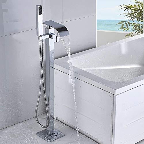 Wannenarmatur stehend Wasserhahn Badarmatur Boden montiertes Duschset mit Handbrause freistehend Farbe: Chrom