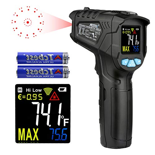 Infrared Thermometer Temperature Gun MESTEK Non-Contact Laser Digital Thermometers with Color LCD Screen -58℉~716℉(-50℃~380℃) Adjustable Emissivity (Not Accurate for Human Temperature)