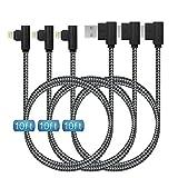 Lot de 3 câbles Lightning 90 degrés en nylon tressé pour iPhone 12/11/Pro/Max/X/XS/XR/XS...