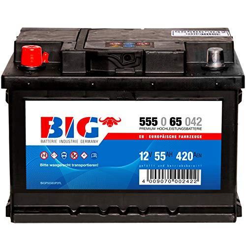 Autobatterie 12V 55Ah 420A DIN 55565 BIG Batterie statt 44Ah 45Ah 50Ah 52Ah