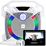 RockJam RJPS100 Singcube 12 Watt Rechargeable Bluetooth Karaoke Machine with Lights Voice Changer and Microphone