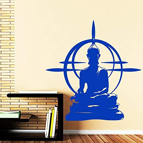 wukongsun Buda Vinilo Pared Pintura Familia Cultura Religiosa Estatua de Buda decoración Sentado extraíble Etiqueta de la Pared Arte Vinilo Azul 57x57cm