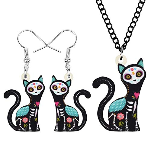ZWwei Juego de joyas de acrílico para Halloween, diseño floral, gato, gato, animales, mascotas, pendientes y collar para mujeres, niños, adolescentes, accesorios de regalo (color: A)