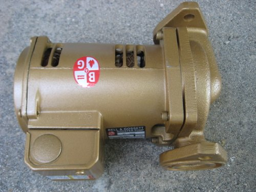 1/6 HP, 8-5/8 Inch Long, 1 Phase, Bronze Housing, Noryl Impeller Inline Circulator Pump