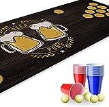 Set Beer Pong I 180 x 60 cm I tappetino da gioco con brocca di birra I include 22 bicchieri da festa e 6 palline da ping pong I gioco per feste e compleanno I riutilizzabili e lavabili I dv_821