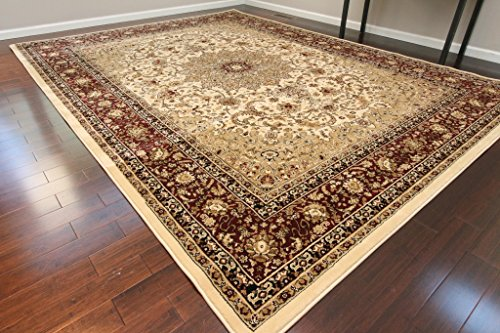 Dunes Traditional Isfahan High Density 1' Thick Wool 1.5 Million Point Persian Area Rug, 13' x 16',...