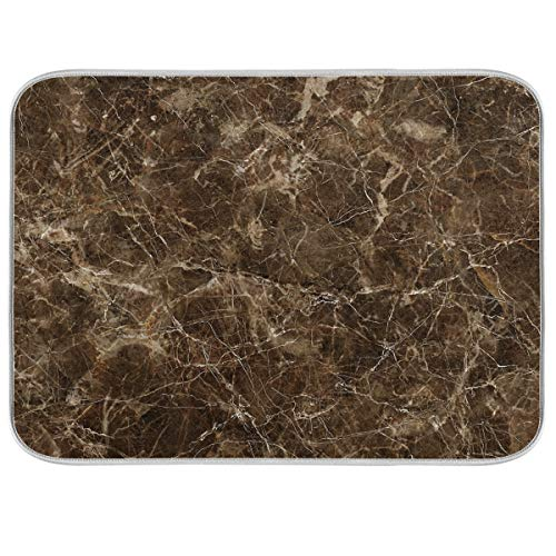 Dish Drying Mat for Kitchen, Drying Mat For Kitchen Counter, Absorbent Polyester Material, Heat-resistant Drying Mat 18 In x 24 In - Brown Marble