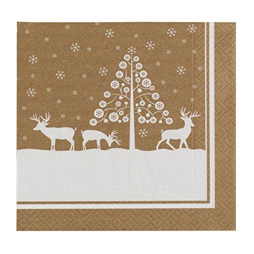 Neviti Winter Wonderland Lot de 16 serviettes de table en métal Motif cerf doré