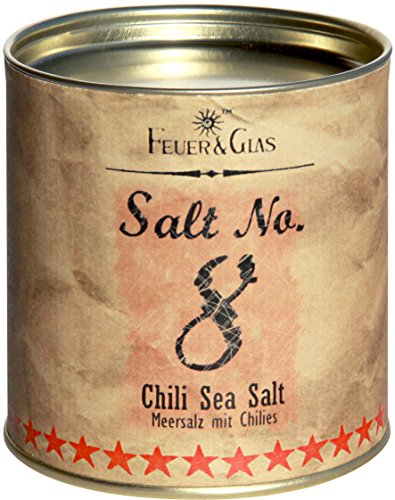 Meersalz mit Chili - Chili Sea Salt No. 8 - Gourmet Salz mit Chili – Ideal als Salz-Geschenk – Kostbare italienische Salzflocken – Eine echte Delikatesse aus Italien – von Feuer & Glas